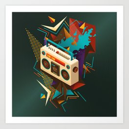 Bust Out The Jams Retro 80s Boombox Splash Art Print