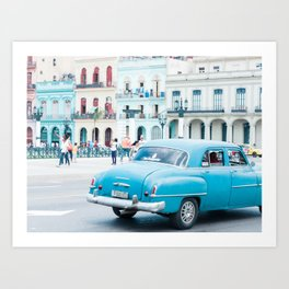Colorful Blue Car in Old Havana Cuba Art Print
