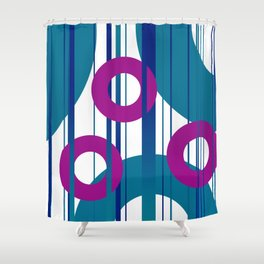 Three Rings pink with turquoise background Shower Curtain
