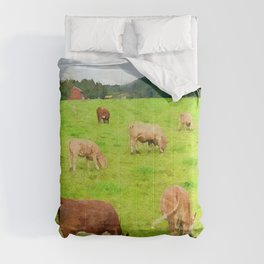 Cows pasture watercolor painting  Comforters