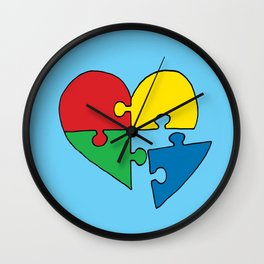 Autism Heart Puzzle Wall Clock