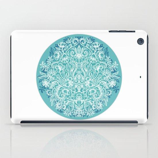 Spring Arrangement - teal & white floral doodle iPad Case
