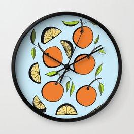 Oranges and Orange Slices Wall Clock