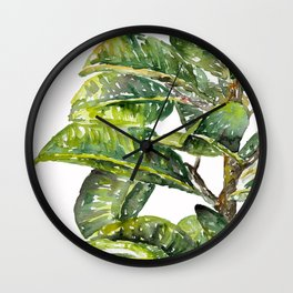 Ficus Leaves Wall Clock