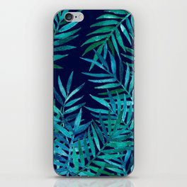 Watercolor Palm Leaves on Navy iPhone Skin