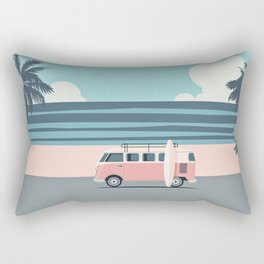 Surfer Graphic Beach Palm-Tree Camper-Van Art Rectangular Pillow