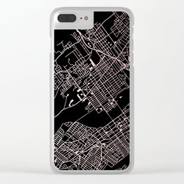 Wilkes-Barre Rose Gold and White Map Clear iPhone Case