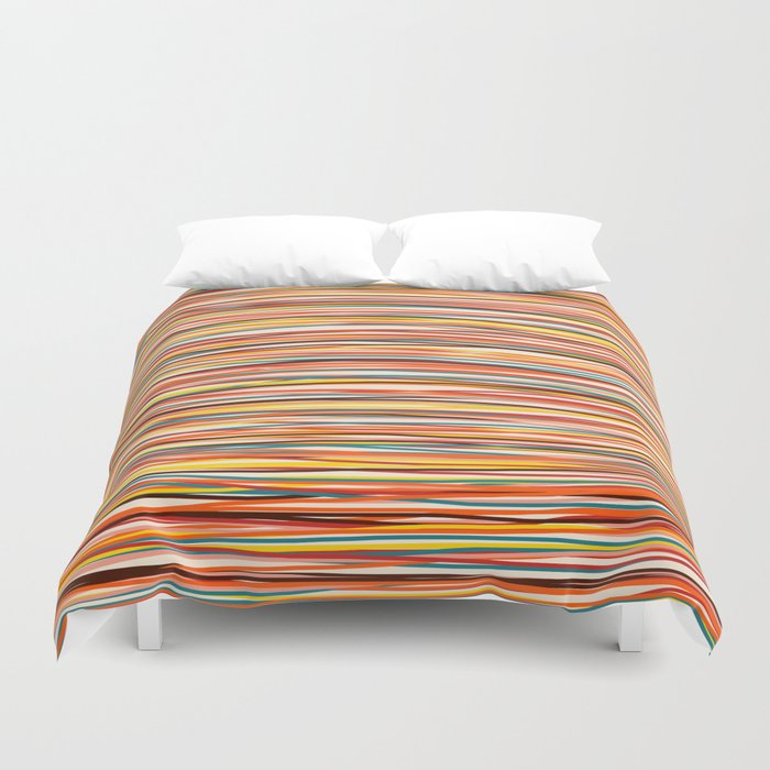 Bright Colorful Lines - Classic Abstract Minimal Retro Summer Style Stripes Bettbezug