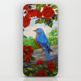 Bluebird and Red Roses iPhone Skin