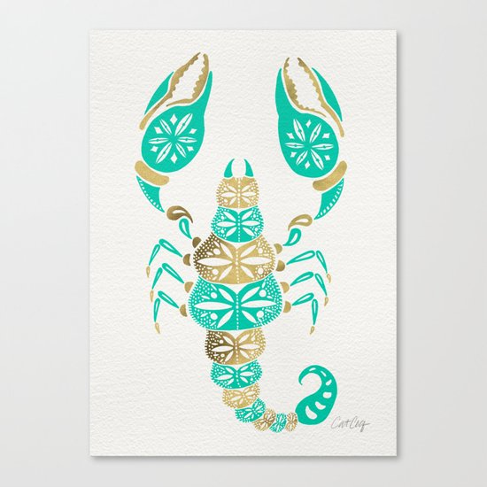 Scorpion – Turquoise & Gold Canvas Print