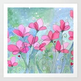 Celestial Strawberry Fluff Art Print