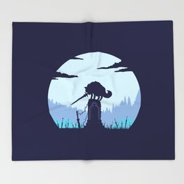 Grey Wolf Sif (Dark Souls) Throw Blanket