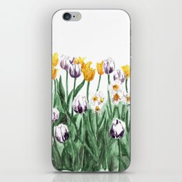 Tulip Watercolor Art, Yellow Flowers Painting, Purple Flowers, Garden Art iPhone Skin