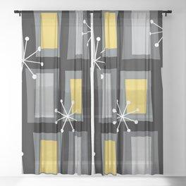 Mid Century Modern Art 'Wonky Doors' Yellow Black Sheer Curtain
