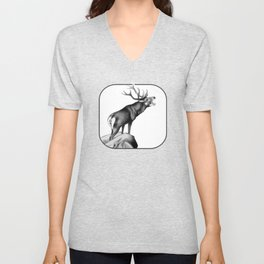 Stag Roaring in the Rut Unisex V-Neck
