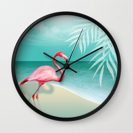 FLAMINGO BEACH | aqua Wall Clock