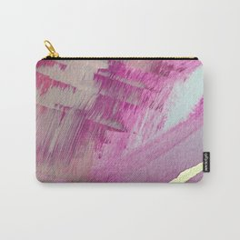 Starburst: a colorful, minimal abstract mixed-media piece in pinks and gold by Alyssa Hamilton Art Carry-All Pouch