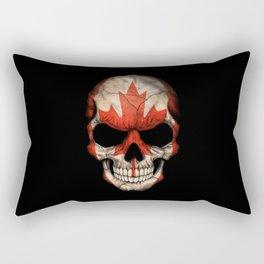 Dark Skull with Flag of Canada Rectangular Pillow