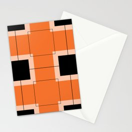 White Hairline Squares in Orange Stationery Cards