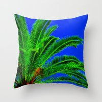 palm tree Throw Pillows featuring Palm Tree by Phil Smyth