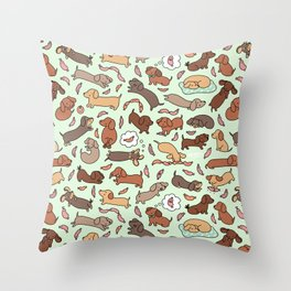 Wiener Dog Wonderland Throw Pillow