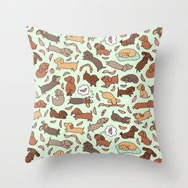 Wiener Dog Wonderland Throw Pillow