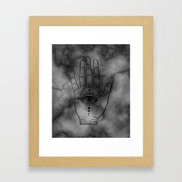 Hamsa Horus Eye Gray Marble Framed Art Print
