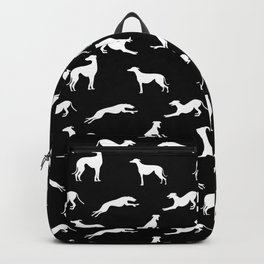 Greyhound Silhouettes White on Black Backpack
