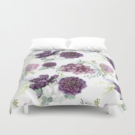 Succulents Deep Violet Lavender Pastel Green Lilac PatternSee Nature Magick for more pretty pastel c Duvet Cover