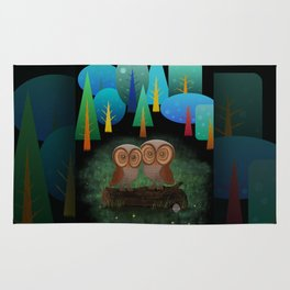 Owl Pals In The Forest Rug