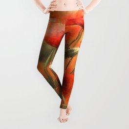 Poppies Watercolor Smudge Leggings