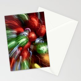 Abstract Red & Green Motion Blur Stationery Cards