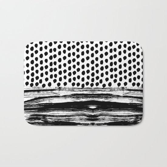 Zoe - Black and white dots, stripes, painted, painterly, hand-drawn, bw, monochrome trendy design Bath Mat