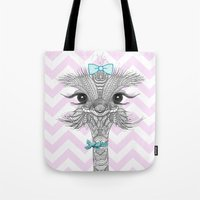 ostrich Tote Bags featuring OsTRICH by Monika Strigel