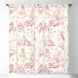 Alice in Wonderland Toile Red Blackout Curtain