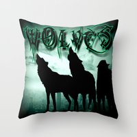 wolves Throw Pillows featuring WolveS by shannon's art space