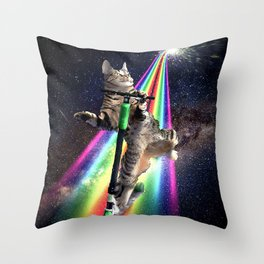 Galaxy Space Cat On Scooter Rainbow  Throw Pillow