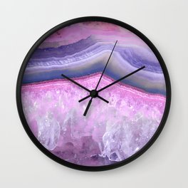 Ultraviolet and Pink Agate Wall Clock