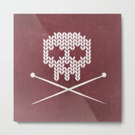 Knitted Skull (White on Red) Metal Print