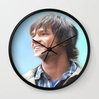 sam winchester Wall Clocks featuring Sam Winchester Pastel by Kaye Pyle
