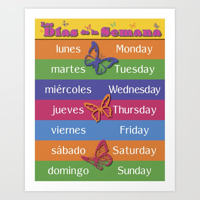 Image result for days of the week in spanish and english