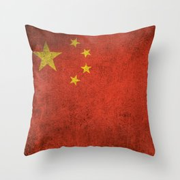 Old and Worn Distressed Vintage Flag of China Throw Pillow