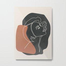 Minimal Woman Line Art 09 Metal Print