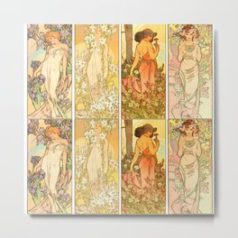 "Alphonse Mucha ""The Flowers (series): Iris, Lily, Carnation, Rose"" Metal Print"