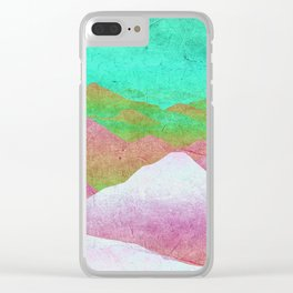 Through hilly lands and hollow lands - turqouise-violet-white option Clear iPhone Case