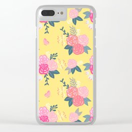 Sweet Roses on Yellow Clear iPhone Case