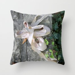 Pink Ballet Pointe Shoes on Limestone Wall with Ivy Vines 2 Throw Pillow