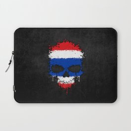 Flag of Thailand on a Chaotic Splatter Skull Laptop Sleeve