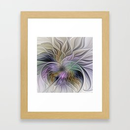 Abstract Flower, Colorful Floral Fractal Art Framed Art Print