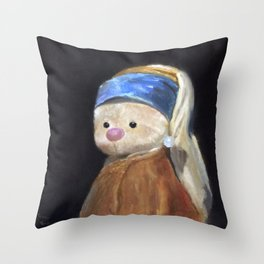 Bunny with Pearl Earring Funny Picture Vintage Portrait Throw Pillow